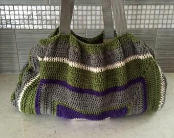 Large Multicolored Slouch Bag, Gray White Purple Green Slouch Bag, Fat Bottom Bag, Crochet Bag, Lined Shoulder Bag, Crochet Slouch Bag
