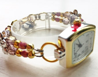 """Bracelet watch, SMALL, floral, plum, lilac, gold, and antique silver, approx. 5 3/4"""" - 6 1/4"""" (15 - 16 cm), adjustable, SMALL"""