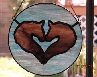 Stained glass horses in love suncatcher