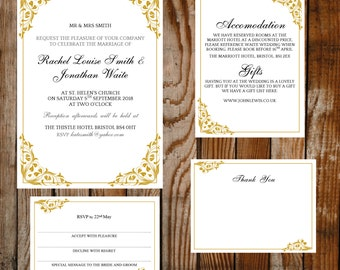 DIY wedding template set - (Flora) Gold – instant DOWNLOAD - Printable Microsoft word templates - invite, rsvp, info card and thank you card