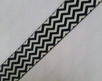 "5yd Black White Chevron Zigzag Print 7/8"" 22mm hair bow supplies ribbon grosgrain printed scrapbook"