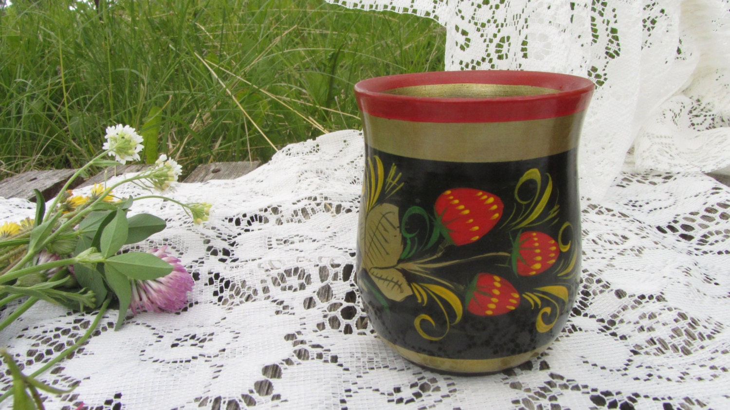 Cup Vintage USSR, Wooden Mug Khokhloma, Colorful Hand Painted Wooden Russian fol