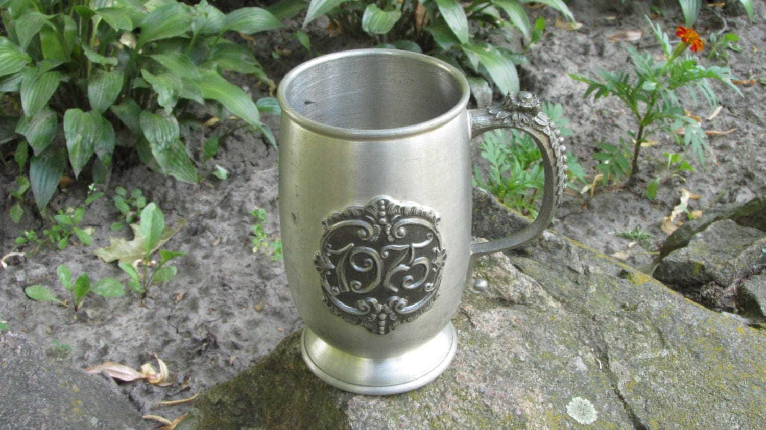 Dark Silver color Goblet For Beer, 1975 Midcentury lookind Mug with curved patte