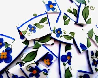 35 Floral Mosaic Tiles, Broken China Pieces, China Mosaic Pieces, Blue Flower Tiles, Mosaic Tiles Craft, Mosaic Craft Pieces, Tiles Mosaics