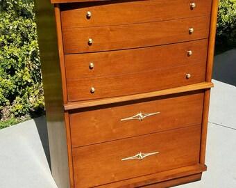 Mid Century Dresser by Ward, Mid Century Modern Dresser, Highboy Dresser, Tall Dresser