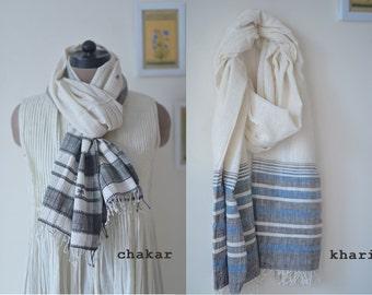 Chakar & Khari, Hand Woven Kala Cotton Scarf ~ set of 2