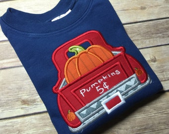 Pumpkin in Truck Embroidered Shirt or Bodysuit for Fall