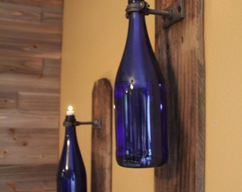 Single Reclaimed Rustic Wood Wine Bottle Oil Lamp Wall Sconce- Industrial, Steampunk, Rustic Cottage Chic style