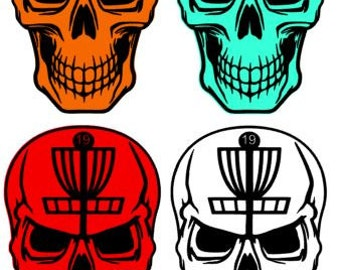 Disc Golf Skull Decal, Disc Golf, Disc Golf Decal, car decal, skull decal, disc golf car decal
