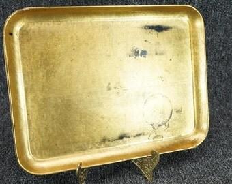 "Vintage Black And Gold 12"" Rectangular Serving Tray"