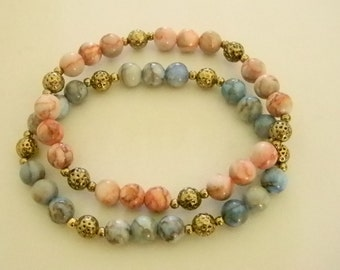 Blue Pink Beaded Gold Accents Stretchy Bracelets