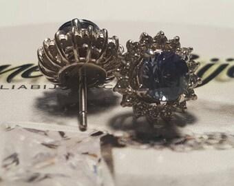 2in1 Tanzanite/Diamond cluster earring studs