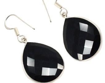 Black Onyx Gemstone 925 Sterling Silver Dangle Earrings Jewelry PG 1578