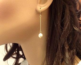 Long Gold Earrings, Pearl Dangle Earrings, White Pearl Jewelry, Simple Dangle Earrings, Long Chain Earrings Gold Handmade, Pearl Drop