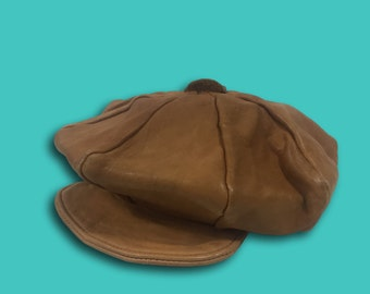 Vintage 60s/70s Brown Leather Newsboy Cabbie Cap Baker Boy Eight Panel Hat