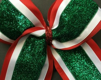 Red, white and green cheer bow