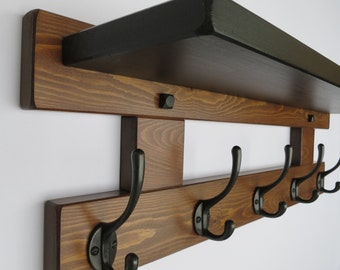 5 hook hat and coat rack with black shelf