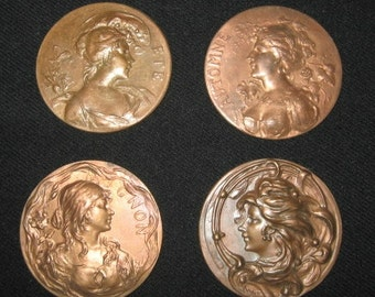 Enamel and Jewelry  making Material , Group of 4 copper Molded Disks , 4 Portraits Women , Authentic Art Nouveau pieces
