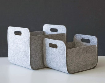 Set of 2  Gray Felt Storage Baskets /  Household Storage / Modern Storage Bin / Black  Storage / Felt box