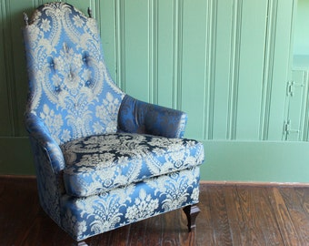 Blue Brocade Wing Chair