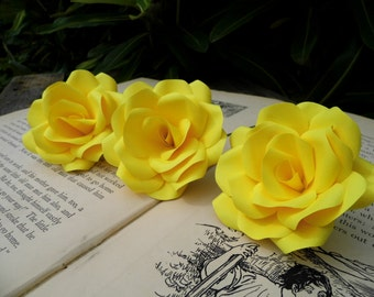 3 x Yellow Paper Roses - Paper Flowers - Handmade flowers, Romantic Wedding Anniversary Gift, Wedding Flowers