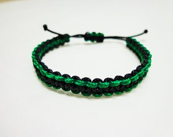 Micro Adustable Paracord Bracelet Black and Green Colors