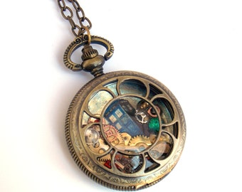 "Doctor Who Pocket Watch Necklace ""Gallifreyan Chronometer"" No. 2"
