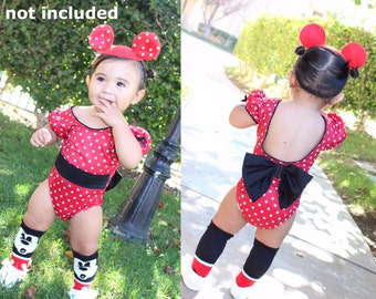 One Piece Baby and Girl's Leotards, Minnie Mouse birthday outfit inspired Leotards with a matching headband Included! Minnie mouse leotard