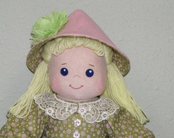 Soft Cloth Doll, Hand made Rag Doll, fabric doll with blond yarn hair, from Carolee pattern