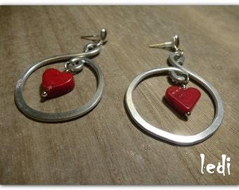 hearts and aluminium earrings