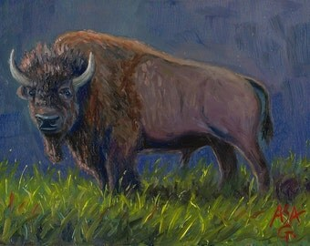 Buffalo Painting, Bison, 5x7 Inches, Original Oil Painting, Oil on Masonite Board, Wildlife Art