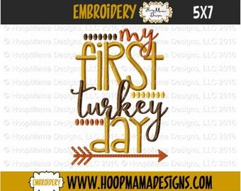 Machine Applique Embroidery Design - My First Turkey Day - Thanksgiving  4x4 5x7 6x10
