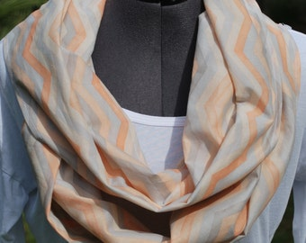 Organic Multi-Color Chevron Year-Round Infinity Scarf, Cowl