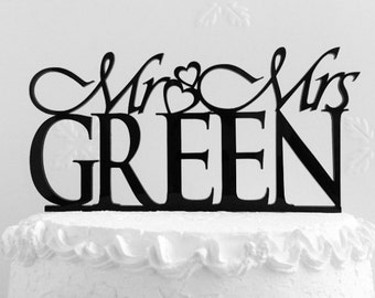 Mr and Mrs Green Wedding Cake Topper