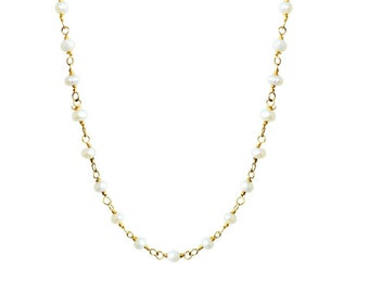 Rosario pearl necklace, 24K gold chain