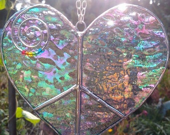 Iridescent Stained Glass Peace Heart