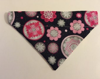 Dog bandana, floral with glitter