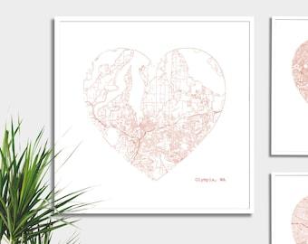 Olympia Washington City Heart Map Art Print - Art Print