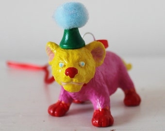 Hand painted circus lion cub hanging decoration.