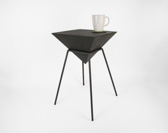 "Pyramid Table - 12"" Wide x Multiple Heights - Handmade Geometric Steel Table - HybridForm Furniture - Crosstree Seed Products"