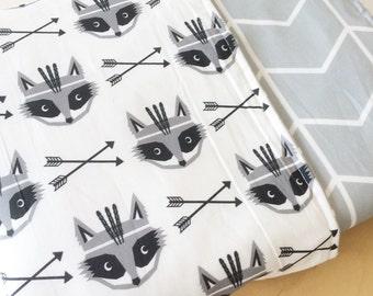 Raccoon crib blanket. Grey Modern cot blanket. Monochrome baby blanket. Woodland Crib bedding.