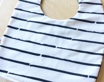 Modern baby feeding bib - modern black stripe / mini mono cross. Baby bib.