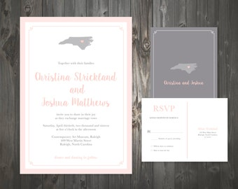 State Map Wedding Invitation Grey Blush Us State Wedding Invitation Customizeable