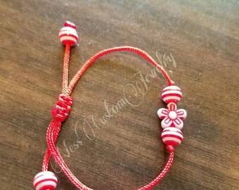 Red and White Baby Bracelet, Baby-Toddler Bracelet, Red Flower Baby Bracelet, Newborn Adjustable Bracelet
