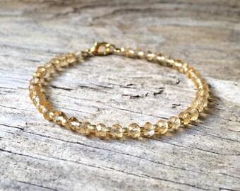 citrine gemstone bracelet with 18k gold plating