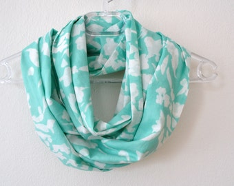 Mint and White Cotton Infinity Scarf Available in 2 Sizes, Summer Fashion, Women Accessories, Spring, Summer, Fall