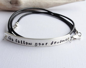 Personalised Double Sided Sterling Silver Wrap Bracelet - 2mm Strap