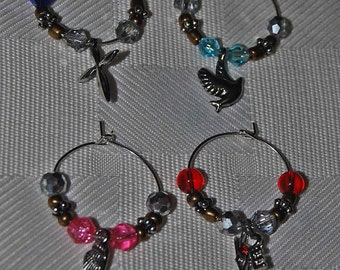 Set of 4 Charms; Wine Glass Charms; Wine glass beads Charms;