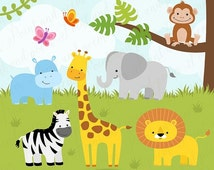 70% OFF SALE Jungle Animals Clipart, Baby Animals Clip art, Cute Jungle Clipart, Jungle Digital Papers, Baby Shower, Birthday Party