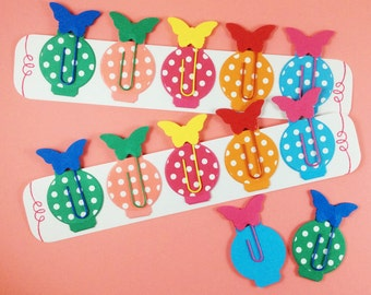 Butterfly page markers - fun spotty paperclip bookmarks - colourful paperclip tabs and dividers - great for planners and Filofaxes